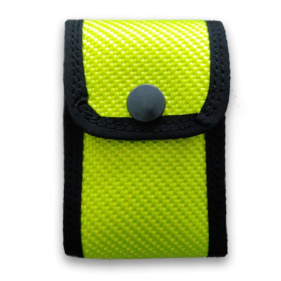 Detector bag made of fire hose - neon yellow