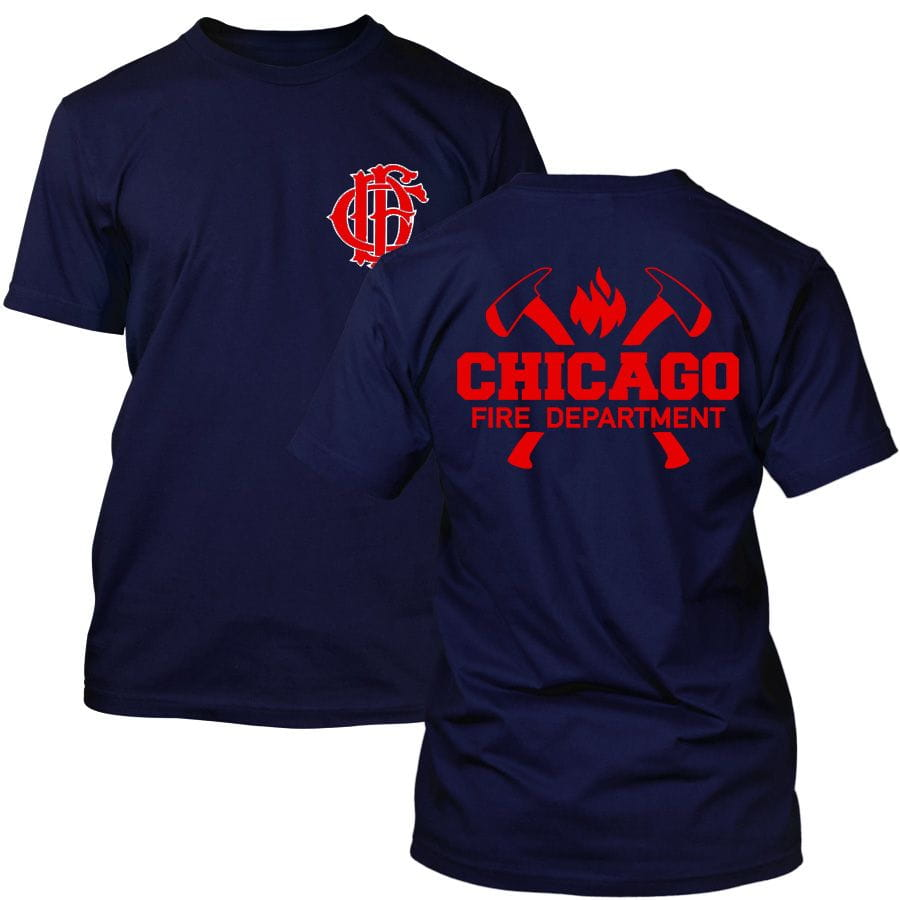 Chicago Fire Dept. - T-shirt with axe logo and lettering (Red Edition)