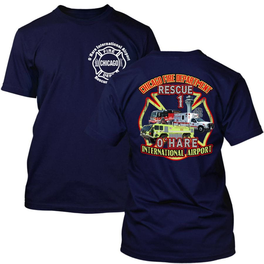 Chicago Fire Dept. - O'Hare International Airport Rescue 1 T-Shirt