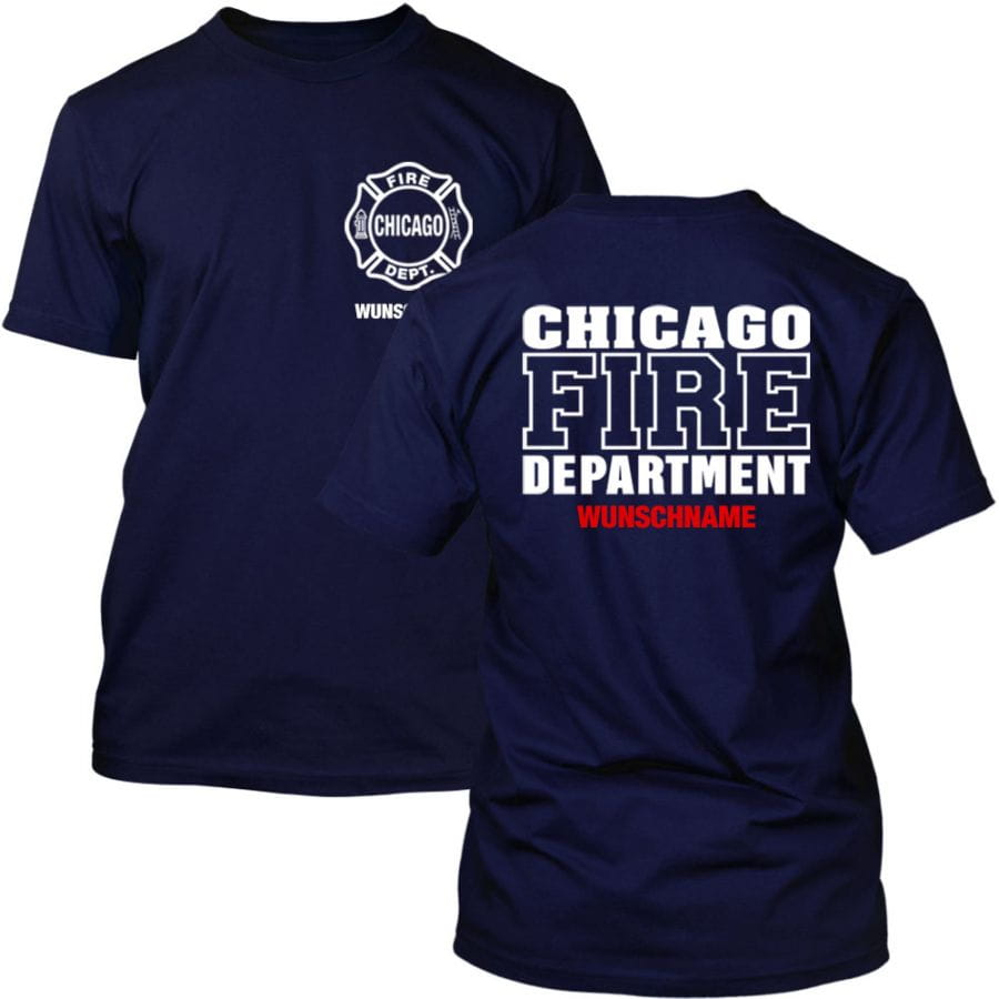 Chicago Fire Dept. T-Shirt with desired name (both sides)