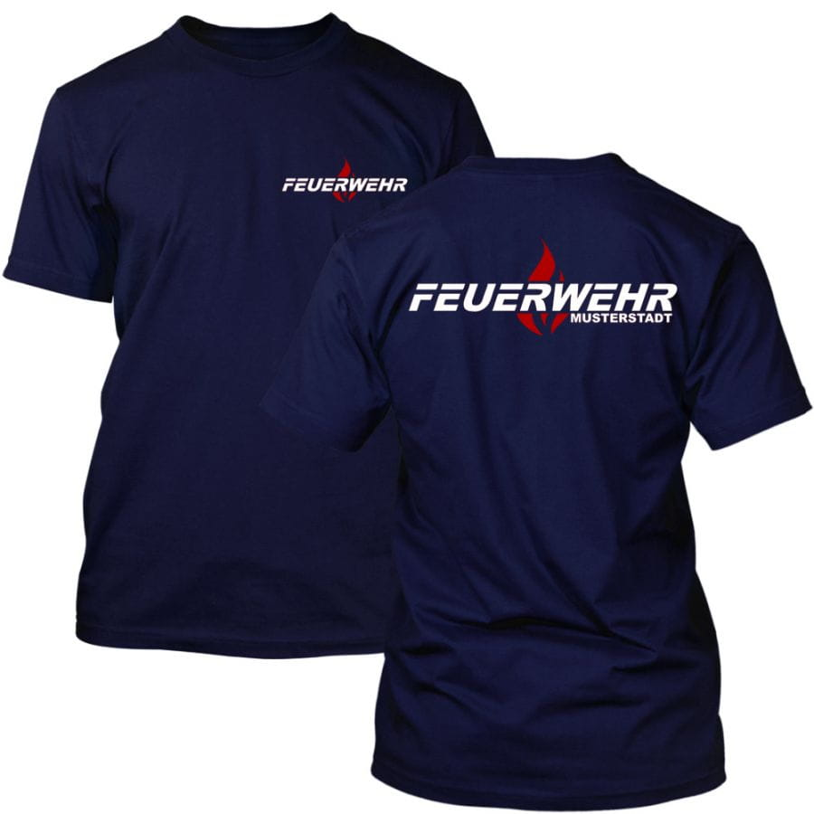 Feuerwehr T-Shirt mit Ortsnamen - Flamme
