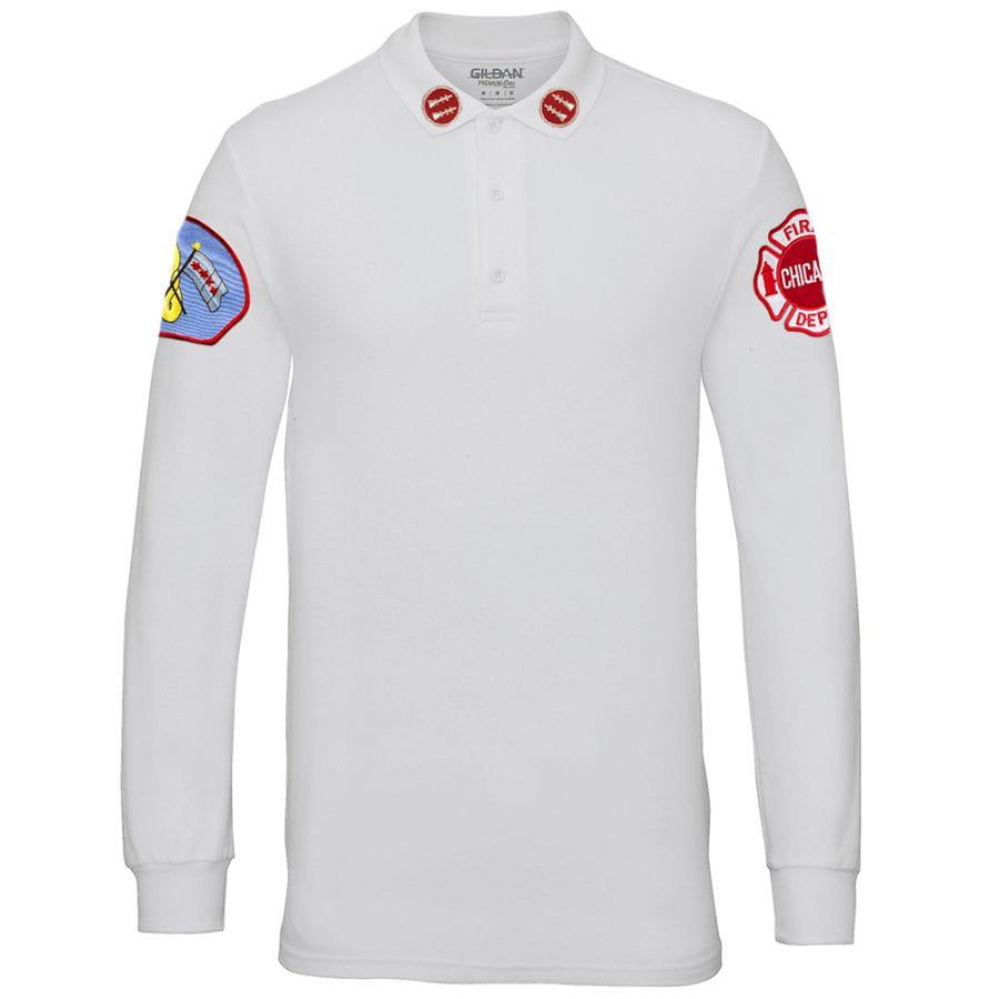 Chicago Fire Dept. - Captain Long-Poloshirt in weiß