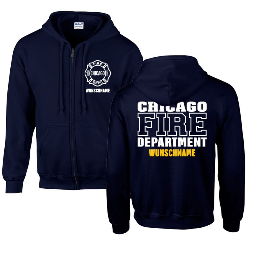 Chicago Fire Dept. - Sweat jacket with desired name (both sides)