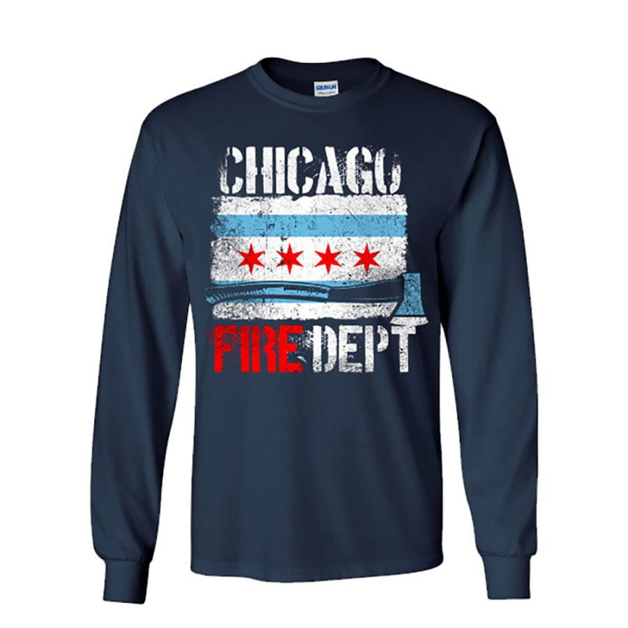 Chicao Fire Dept. - longshirt with Chicago flag