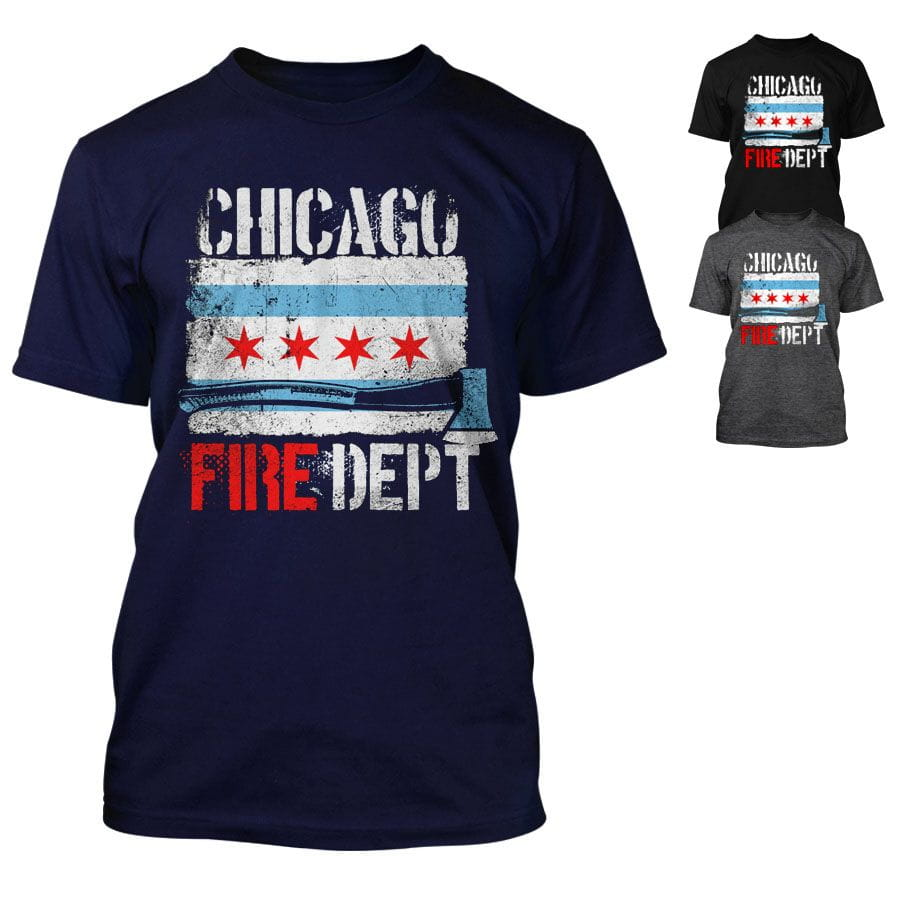 Chicago Fire Department - T-Shirt with Chicago Flag