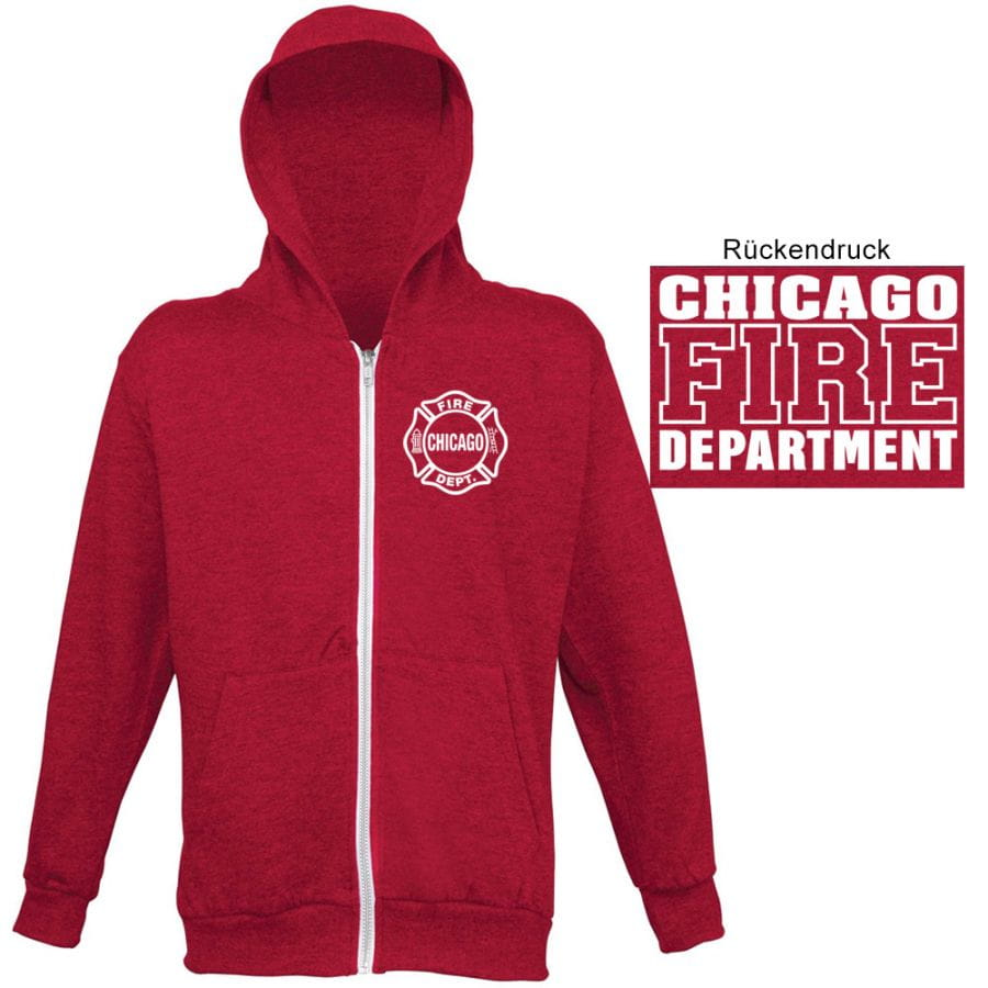 Chicago Fire Dept. - red sweat jacket with hood for women