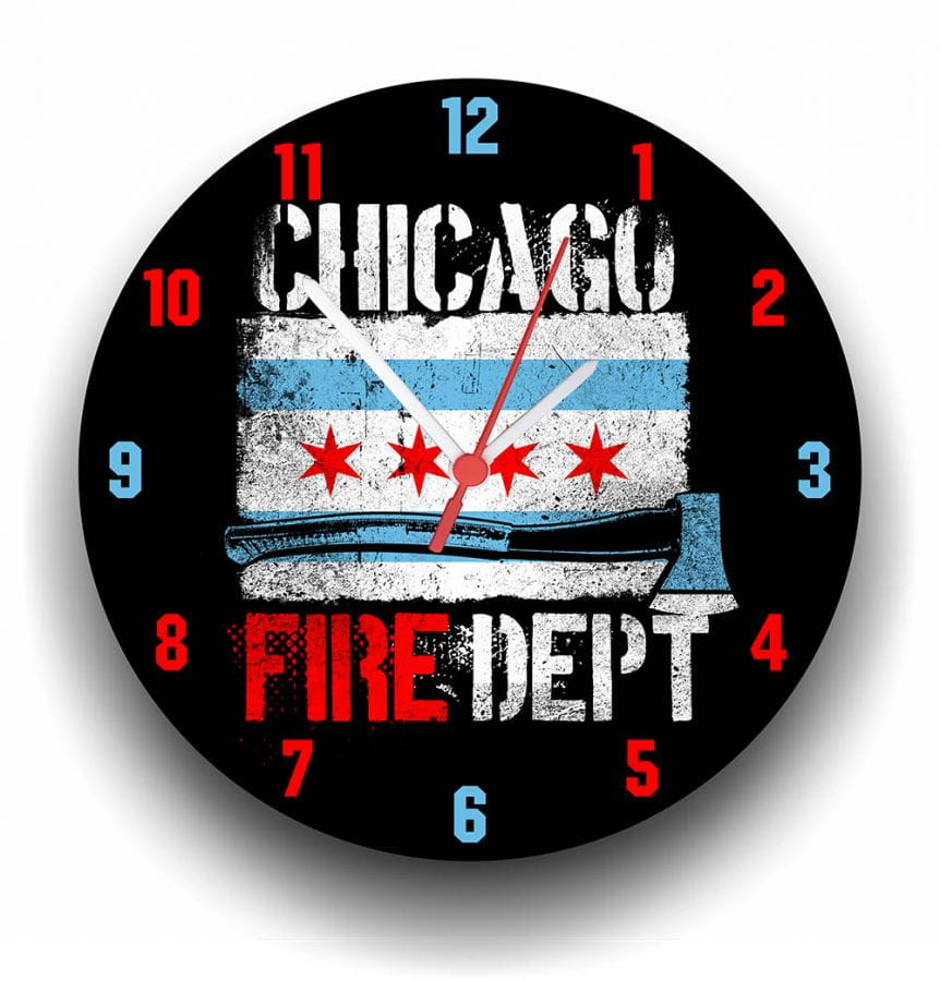 Chicago Fire Dept. Wall Clock
