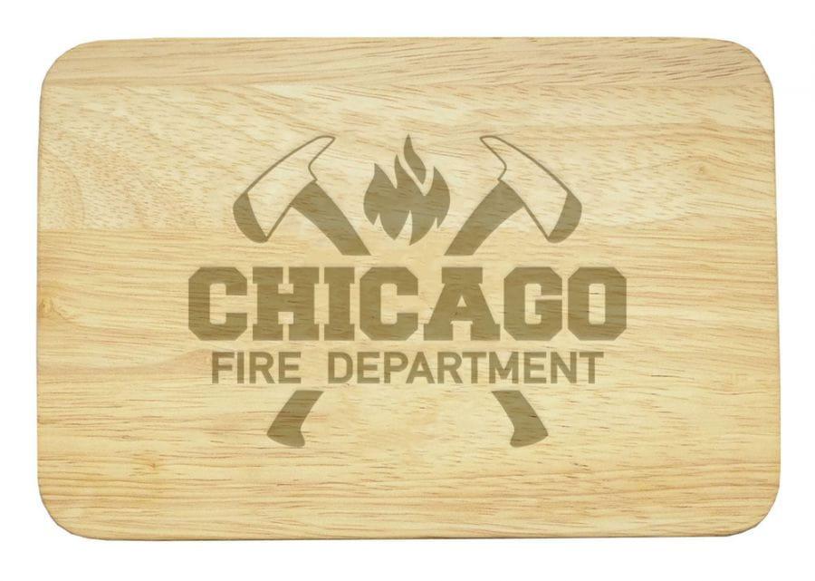 Chicago Fire Dept. wooden breakfast board