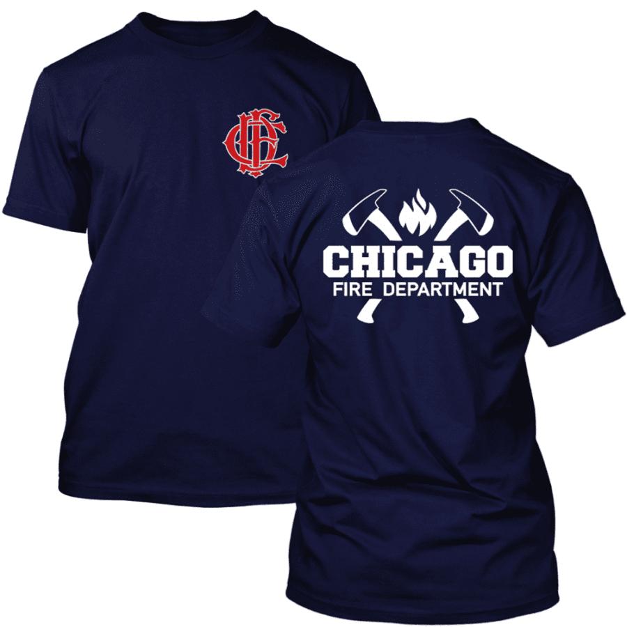 Chicago Fire Dept. - T-Shirt mit Axt-Logo und Schriftzug, wahlweise mit Truck 81 oder Squad 3