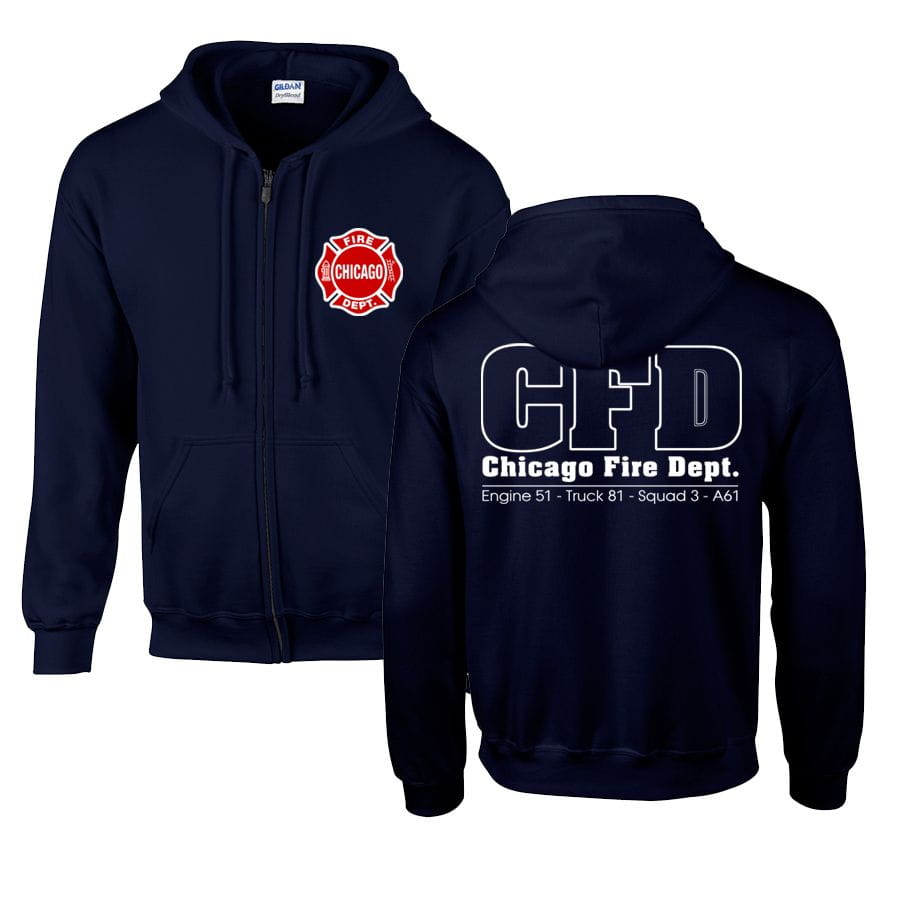 Chicago Fire Dept. - Hooded sweat jacket (Engine 51, Truck 81, Squad 3, A61)