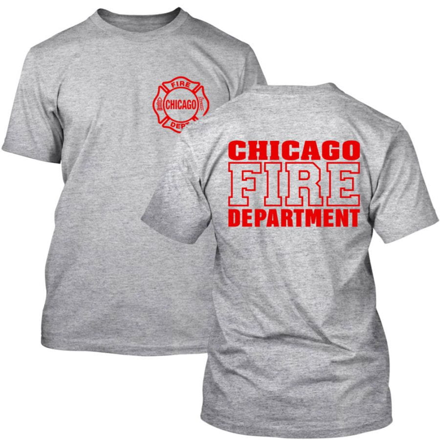 Chicago Fire Dept. - T-Shirt in grey with logo and lettering in red