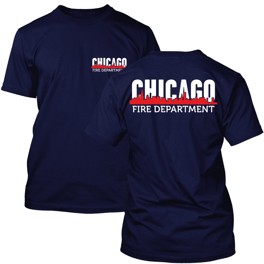 Chicago Fire Dept. - T-Shirt with Chicago Skyline