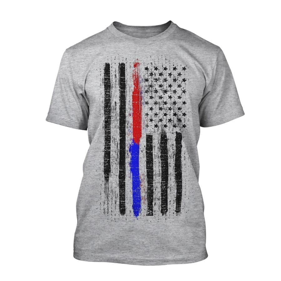 US Flag - Firefighter and Police - T-Shirt in grey