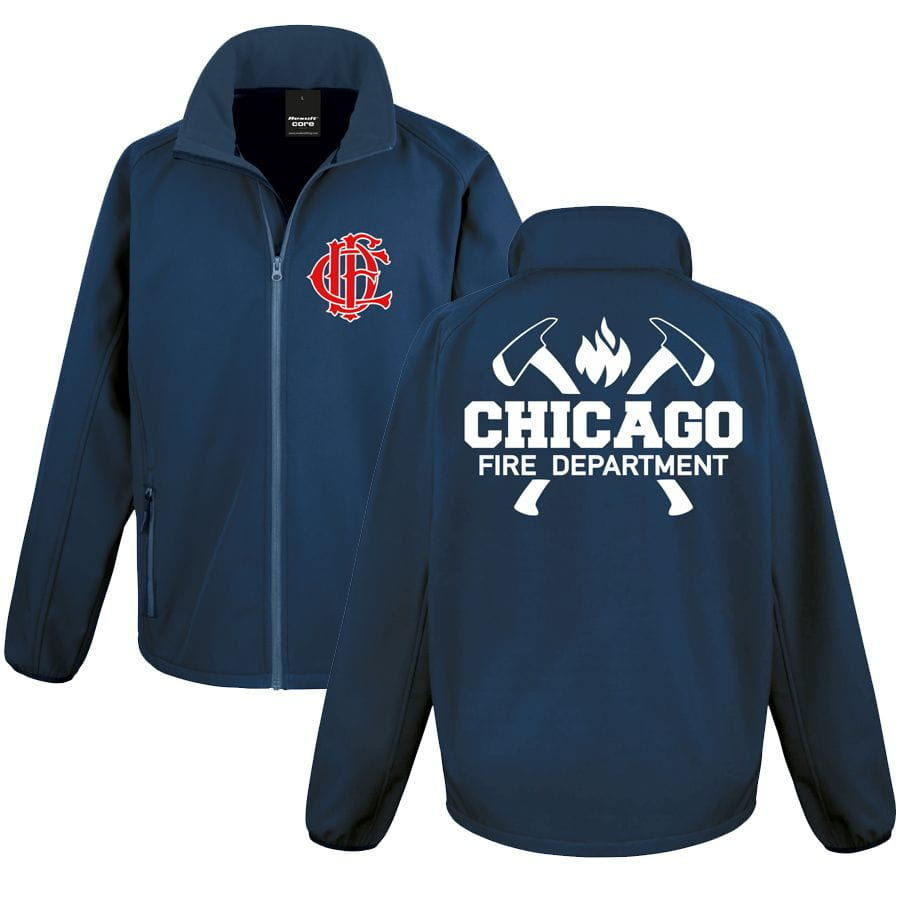 Chicago Fire Dept. softshell jacket with axe motif