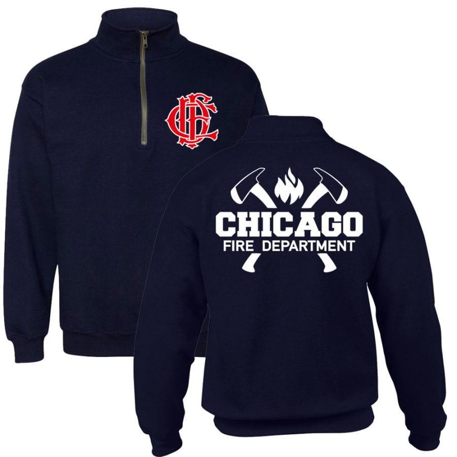 Chicago Fire Dept. - 1/4 Sweatjacke mit Axt-Motiv