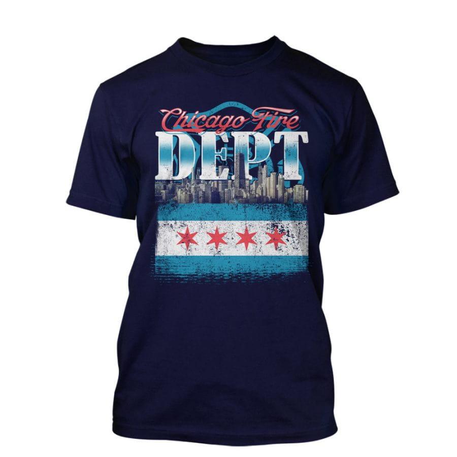 "Chicago Fire Dept. T-Shirt ""Chicago Skyline"""