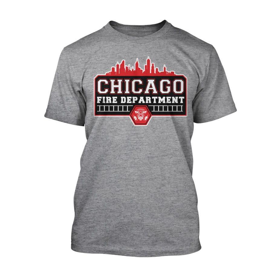 Chicago Fire Dept. - City Skyline T-Shirt in grey