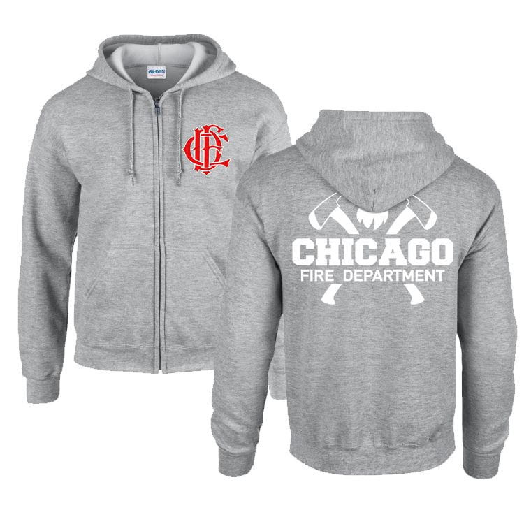 Chicago Fire Dept. - Sweat jacket with hood in grey - With Squad 3 or Truck 81 inscription
