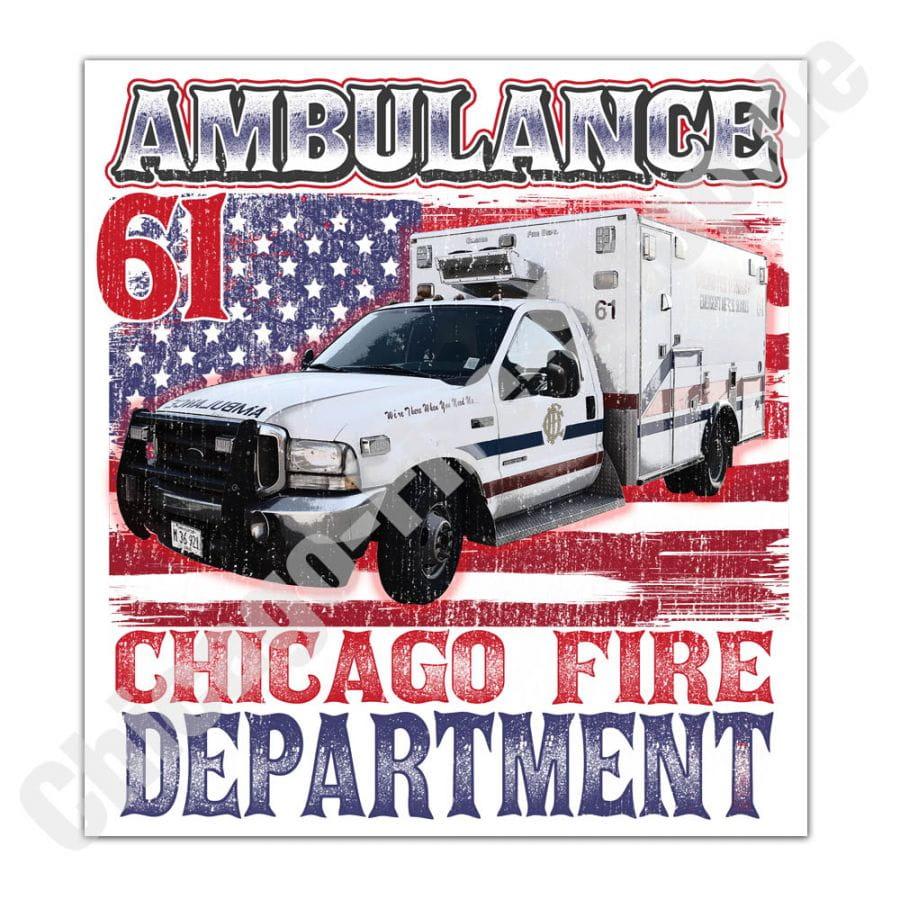 Chicago Fire Dept. - Ambulance 61 - Aufkleber