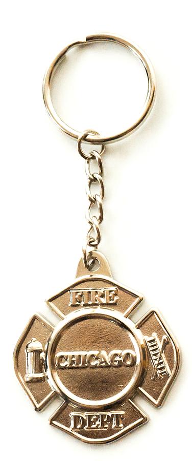 Chicago Fire Dept. - silver keyring pendant