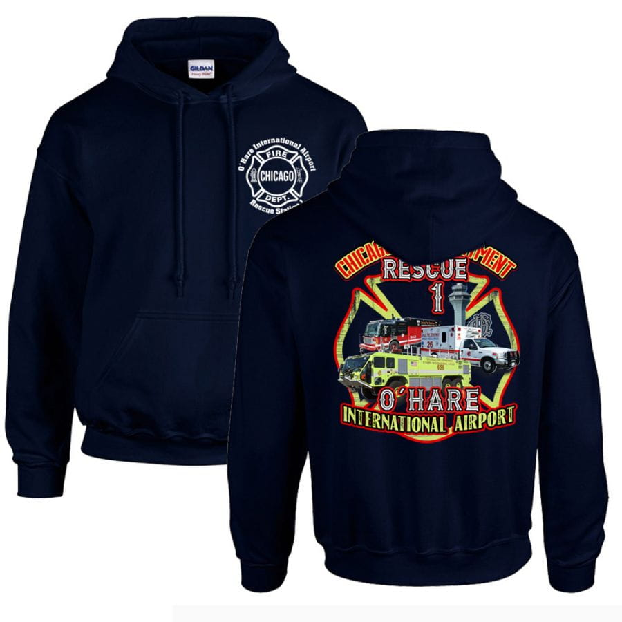 Chicago Fire Dept. - O'Hare International Airport Rescue 1 Hooded Sweater