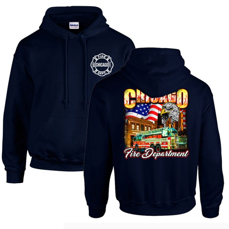 Chicago Fire Dept. - Hooded sweater with Eagle motif