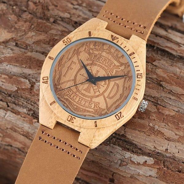 Firefighter Wrist Watch - Bamboo Case