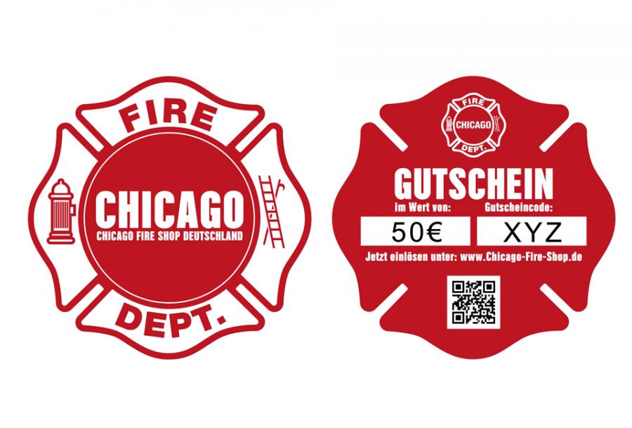 Gift voucher in Chicago Fire Dept. design
