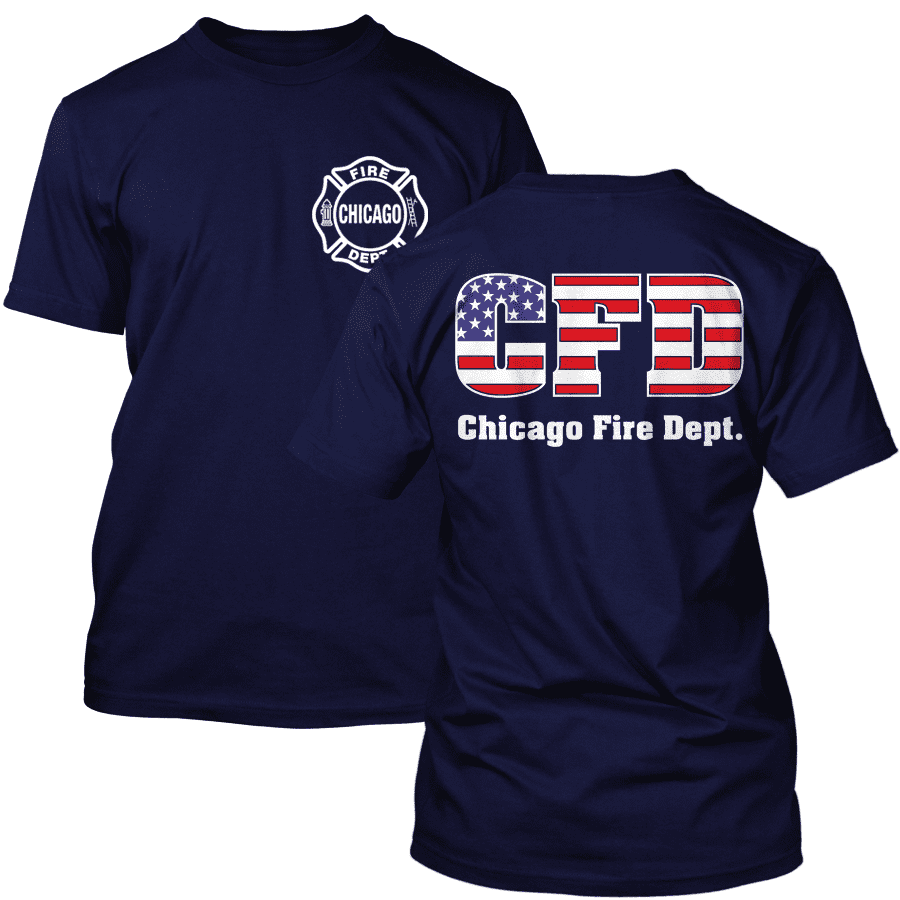 Chicago Fire Dept. - T-Shirt with USA Flag
