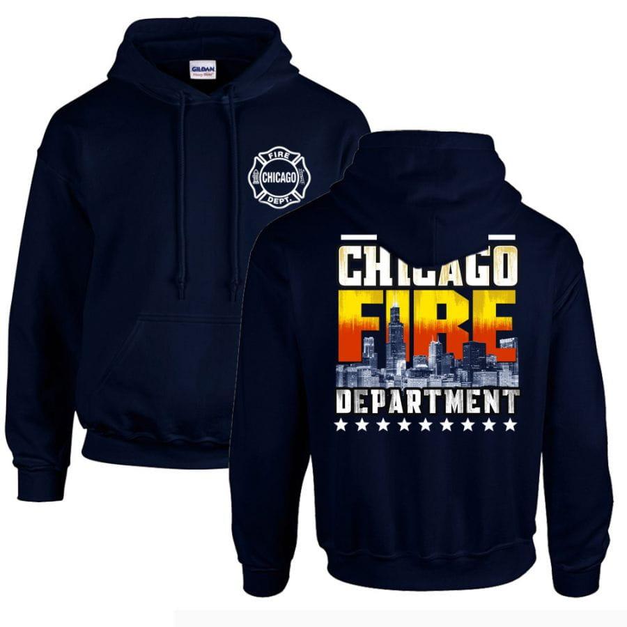 Chicago Fire Dept. - Kapuzenpullover mit Skyline Motiv