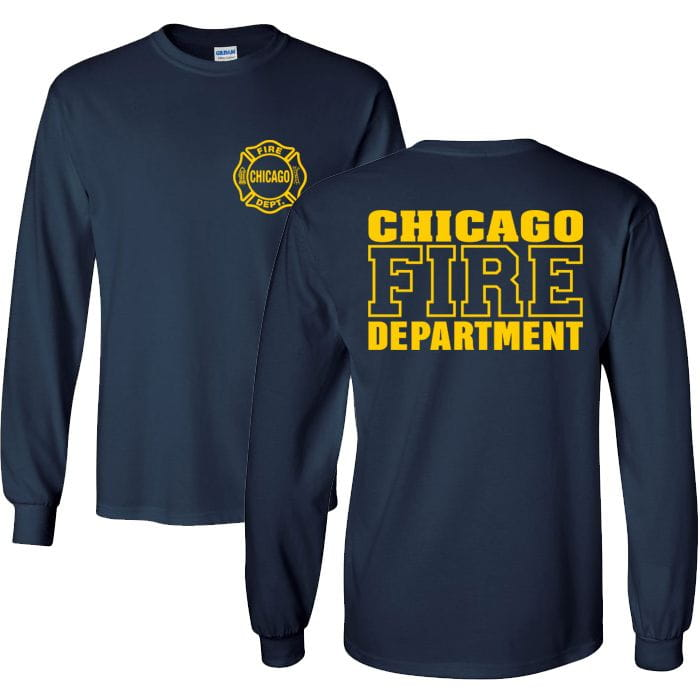 Chicago Fire Dept. - Longshirt in navy with logo and lettering in yellow