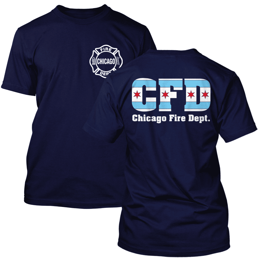 Chicago Fire Dept. - T-Shirt with Chicago Flag