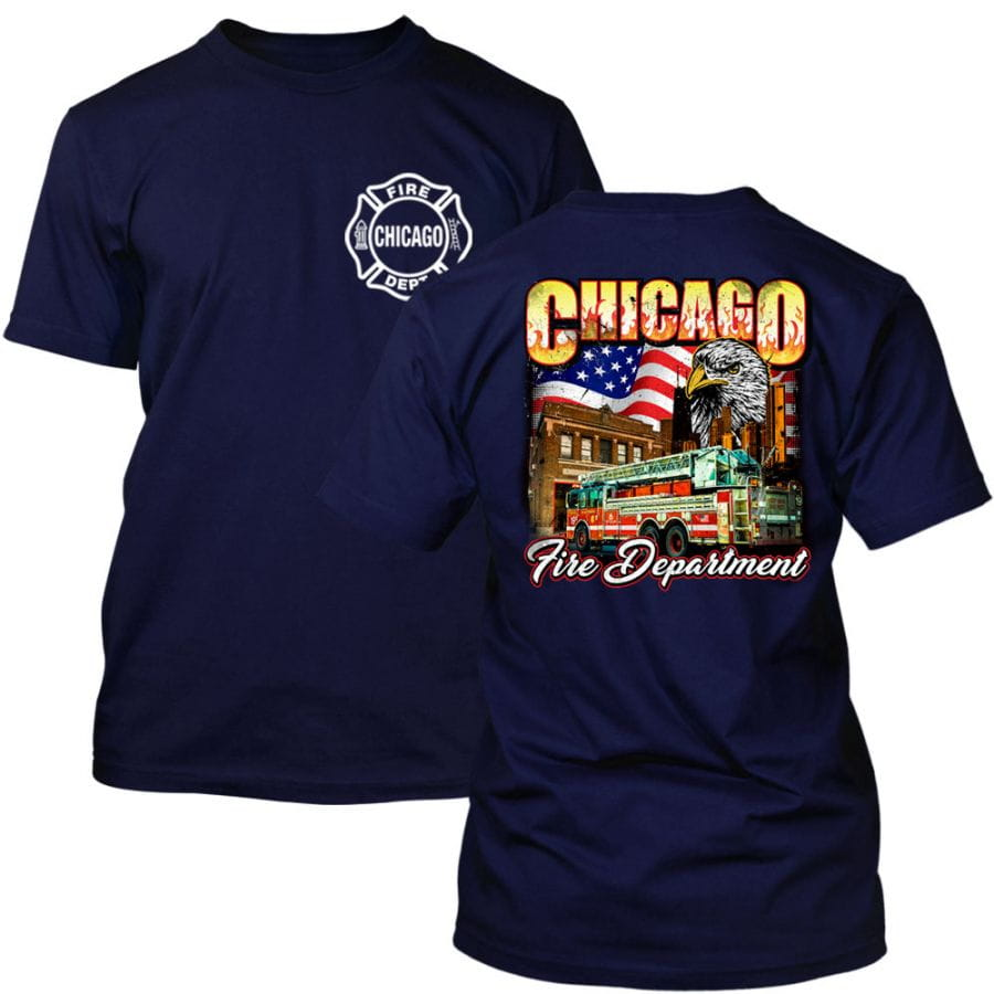 Chicago Fire Dept. - T-Shirt with Eagle Motif