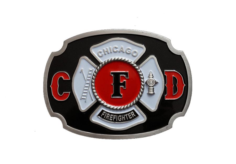 Chicago Fire Dept. - colored metal belt buckle