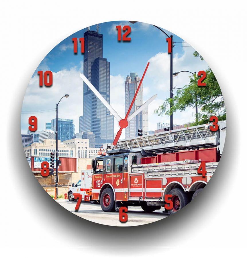 Chicago Fire Dept. Wall Clock