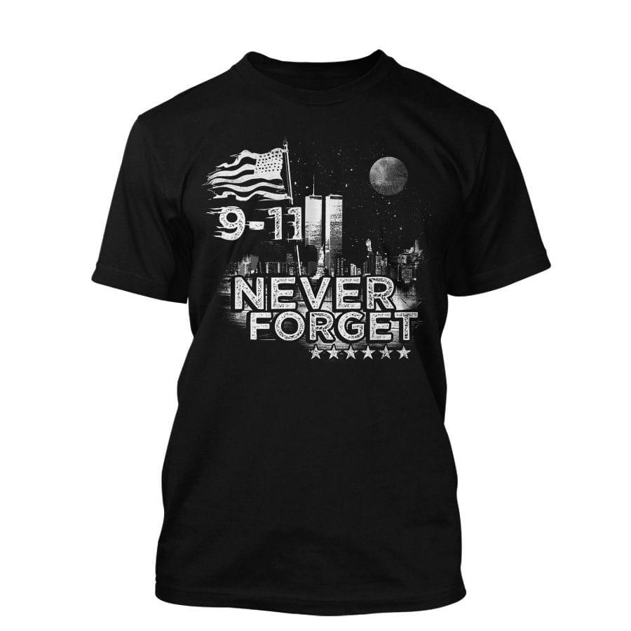 9/11 - Never forget - T-Shirt in schwarz