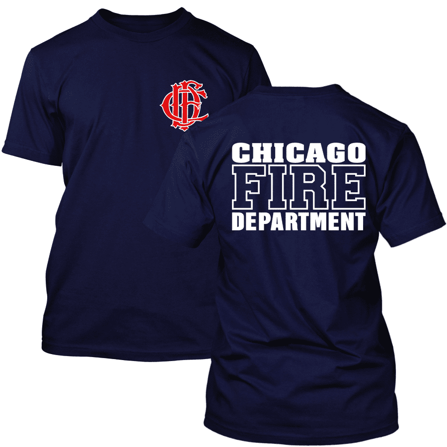 Chicago Fire Dept. - T-shirt with logo and lettering, optionally with Truck 81 or Squad 3