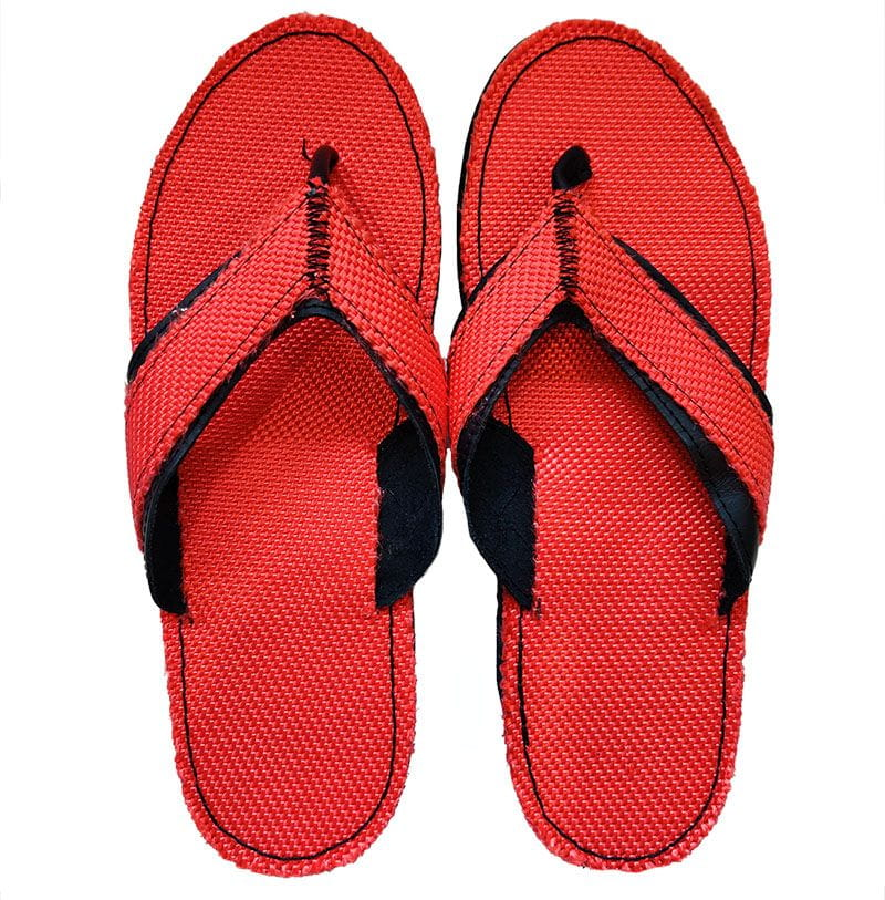 Fire brigade flip-flop made of fire hoses